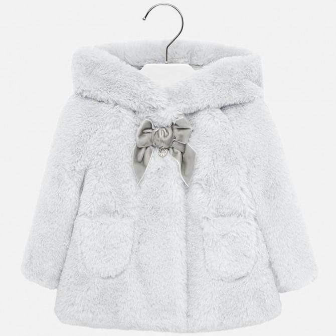 super popular fe1ad ff841 pelliccia grigia con fiocco e cappuccio pelliccetta cappotto ...