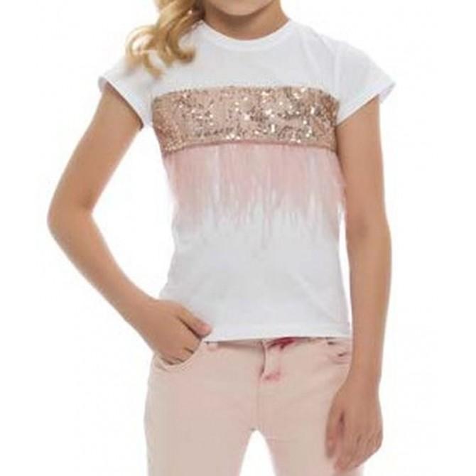 Maglietta da ragazza con paillettes ricamate LC WAIKI
