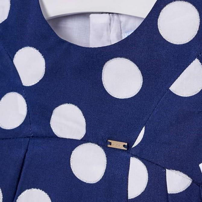 pick up 0da11 4d425 vestina blu oltremare pois bianchi fiocchi vestito abito ...
