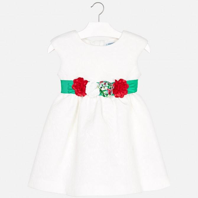 pretty nice 550a3 566d0 mayoral vestina bianca cintura verde fiori vestito vestitino ...