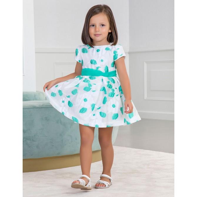 new photos 442a8 9a78f vestina bianca vestito abito abitino vestitino fiorato verde ...