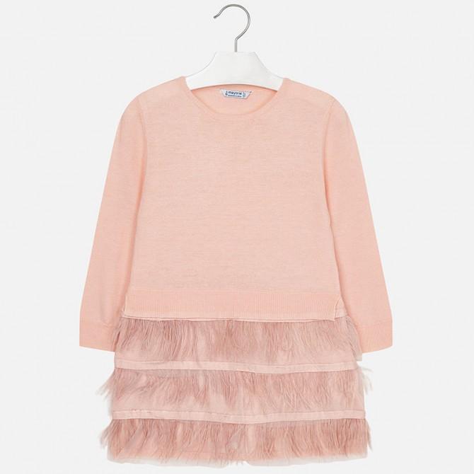 5e75b04336eea vestito tricot filo piume rosa nudo cipria mayoral bimba bambina ...